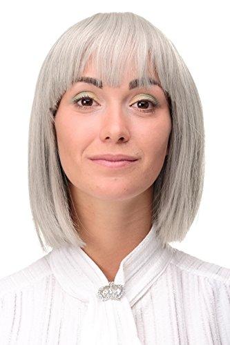 WIG ME UP - Perruque femme sexy carré gris argenté-noir mélange lisse 25cm 7803-51