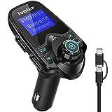 Transmisor FM Bluetooth Coche Manos Libres, iVoler Adaptador de Radio, Reproductor MP3 Coche, Cargador de Coche de USB Dual con Pantalla 1.44 Pulgadas, Apoyo Flash USB y Tarjeta TF - Negro