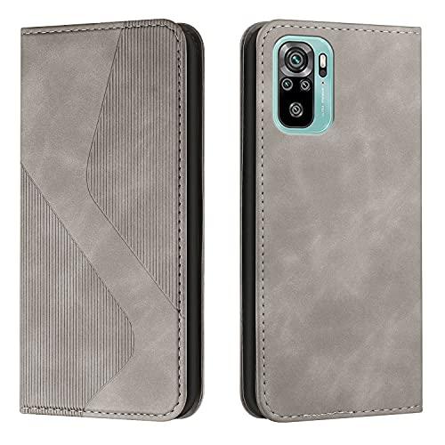 Amlope Funda para Xiaomi Redmi Note 10 4G/Note 10S, Funda con Tapa de Cuero, Cartera de adsorción automática magnética Oculta Case con Ranura para Tarjetas Estuche de Cuero PU