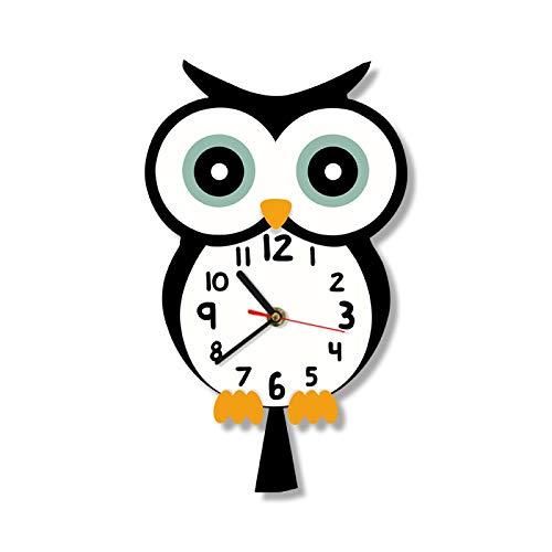 Búho águila Diseño de animales de dibujos animados lindo Reloj de pared con estampado de búho colorido Bebé Reloj de pared silencioso Arte del hogar Dormitorio Sala de estar Dormitorio Decoración