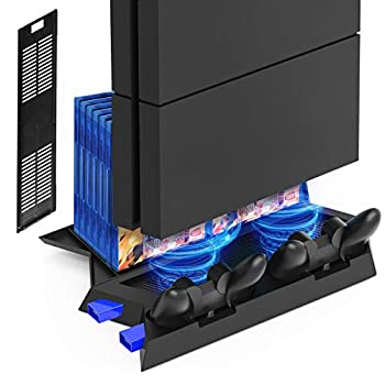 Kootek Vertical Stand for PS4 Slim / Regular PlayStation 4 Cooling Fan Controller Charging Station with Game Storage and Dualshock Charger   Not for PS4 Pro