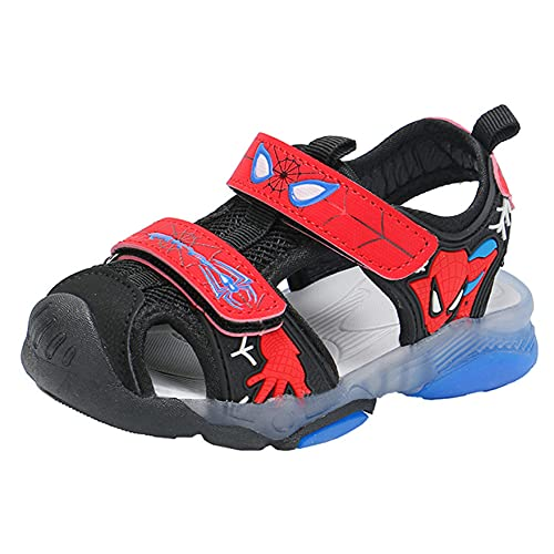 XNheadPS Spiderman Glow Baotou Sandalias Niños Niños Sandalias cómodas Impermeables Zapatos de Playa Transpirables de Fondo Suave Sandalias de Vacaciones de Trekking,Red- 28 Inner Length 17.4cm
