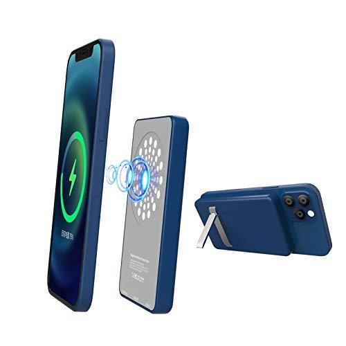 Cargador De Banco De EnergíA MagnéTico, 5000Mah Soporte Banco De EnergíA InaláMbrico Compatible con iPhone 12 Mini Pro MAX 15W Qc Carga RáPida BateríA Externa, Soporte PortáTil (Azul)
