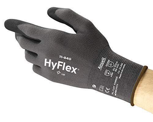 Ansell HyFlex 11-840 Arbeitshandschuhe, Vielseitig Einsetzbarer Abriebfester Industrie- und Mechanik-Handschuh, Grau/Schwarz, Größe 9 (12 Paar)