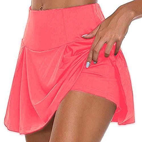 Sport Röcke Damen Miniröcke Damen Tennisröcke Innenshorts Elastische Sport Golf Skorts mit Taschen Hohe Taille Stretch Workout Fitness Rock mit Innenhose für Laufsport Golf Tennis Workout Casual Use