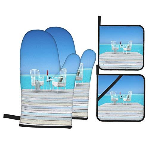 Juego de 4 Guantes y Porta ollas para Horno Resistentes al Calor Silla de Playa de renderizado 3D con Vista al mar para Hornear en la Cocina,microondas,Barbacoa