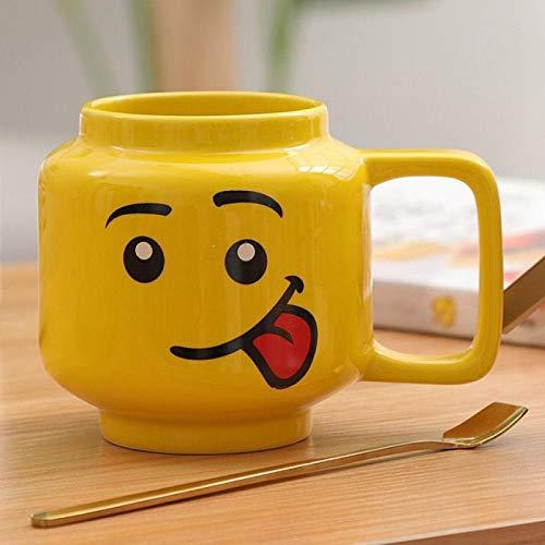IADZ Tazas, 250 ml Taza de cerámica Taza de Lego Sonrisa Expresión Cara Dibujos Animados Café Leche Taza de té Taza Linda para Beber
