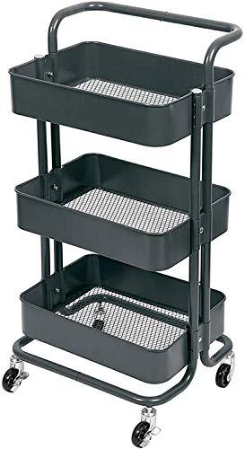 Carros de almacenamiento Trolley de almacenamiento 3 niveles, estanterías de metal Rolling Carts Organizer Trolley con ruedas para baño Cocina de oficina Lavadero, 45 * 35 * 85 cm ( Color : Black )
