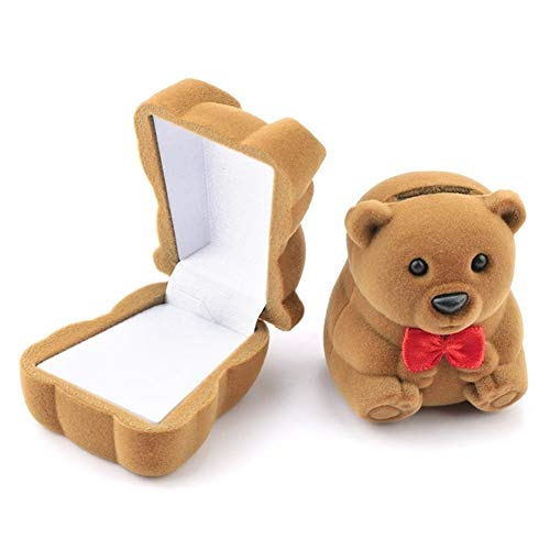 LOOEST 1 Pieza de joyería envase de la Caja de la Boda for la Pulsera Pendientes del Collar de la Caja del Anillo de Pantalla Caja de Regalo Holder Gift (Color : Bear Brown)