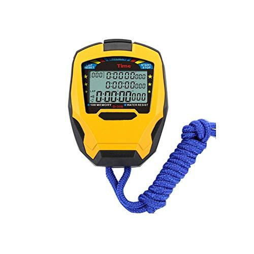 HENGXIANG Stopwatch, Comfortabel en groot scherm Multi-rij Multi-channel Stopwatch Timer, Waterdichte Multi-functie kan worden omgeschakeld naar Horloge Counter (geel, 8 * 7 * 2cm)