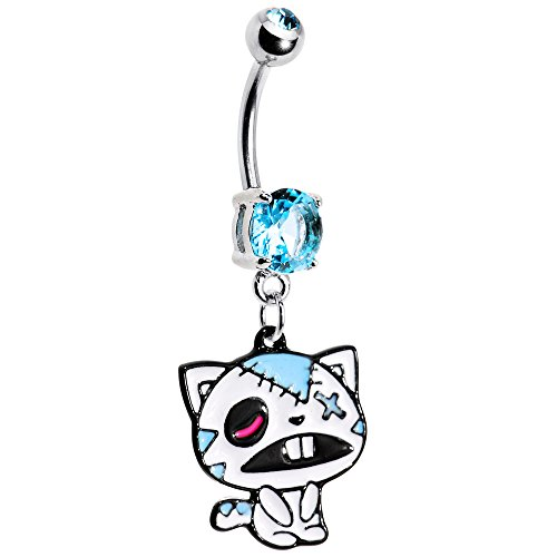 Body Candy Light Blue Zombie Cat Belly Ring