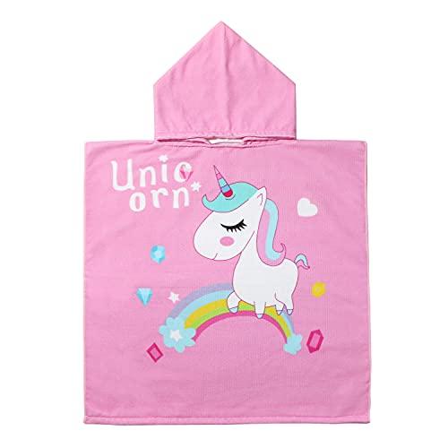 EUFANCE Asciugamano poncho cartone animato per bambini per spiaggia, bagno, asciugamano con cappuccio, accappatoio cartone animato, asciugamano ad asciugatura rapida(modello unicorno)