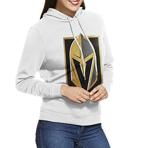 Tengyuntong Felpe con Cappuccio, Women's Hooded Sweatshirt Pullover Vegas Born Golden Knights Cool Personality Design White
