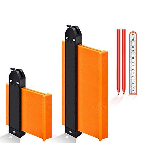 Duplicatore di contorni da 2 pezzi con blocco, strumento misurazione del calibro profilo Modello tracciatura forme per la lavorazione legno in plastica copie Strumento facile