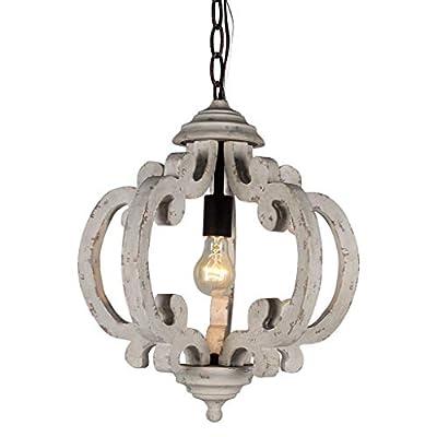 Docheer Vintage Wooden Chandelier Lights Wood and Metal Pendant Ceiling Lamp Hanging Lighting for Home Decor Dinning Room Bedroom Lighting