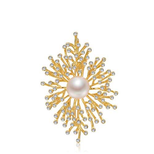ANAZOZ 18K Gold Brosche Damen Algenblume Broschen für Frauen mit 12-13mm Perle Geschenk für Mutter Freundin Frauen