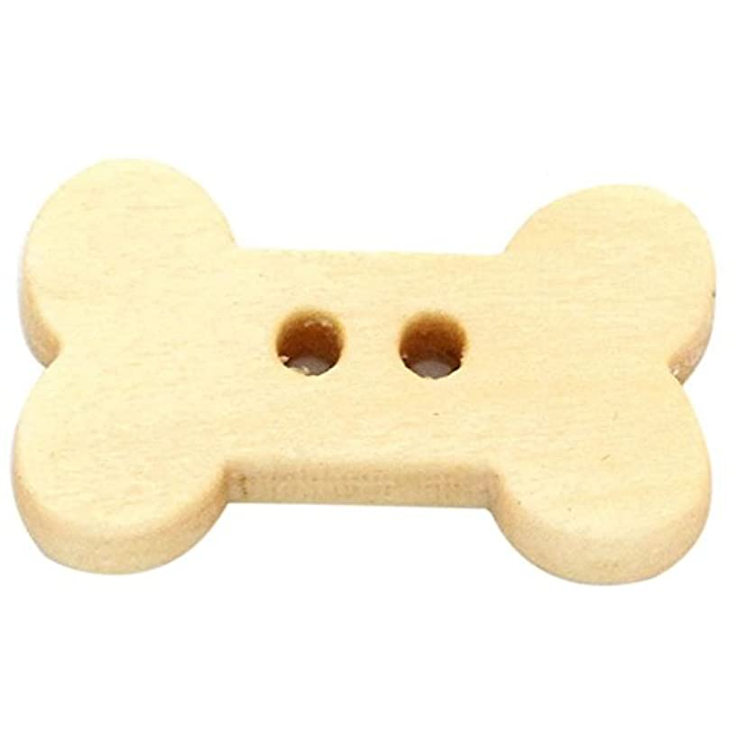 HooAMI 100pcs 2 Holes Dog Bone Shape Wood Wooden Buttons for Sewing Crafting