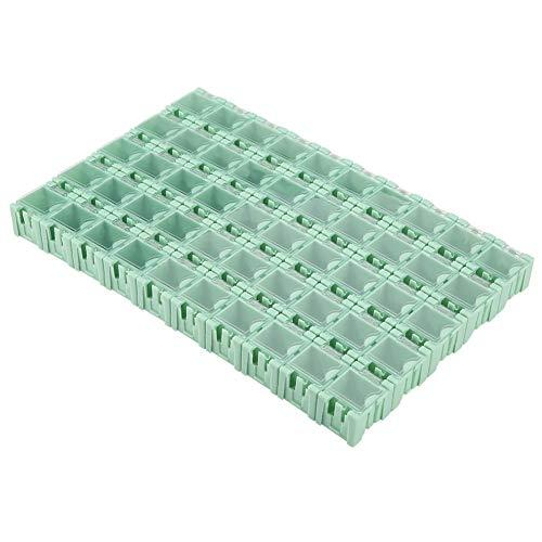 Caja Componentes smd - Caja de componentes SMD 50 piezas Caja de almacenamiento de componentes electrónicos SMT SMD verde Mini Caja de almacenamiento