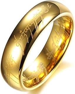 خاتم مطلي بالذهب مع نقوش للجنسين 6 ملم، سيد الخواتم مقاس 9-r068
