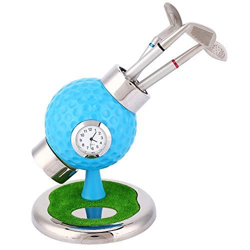 ZHHZ Titular de lápiz-Golf Ball Shape Pen Holder lápiz Jarrón de escritorio Set con reloj 3 bolígrafos para oficina de estudio (azul)