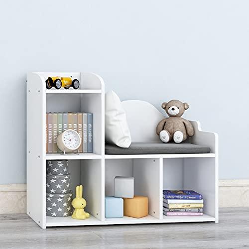 Kids Bookshelf with Cushion Reading Nook, White Kids Bookcase, Kids Cube Storage Organizer for Children's Bedroom