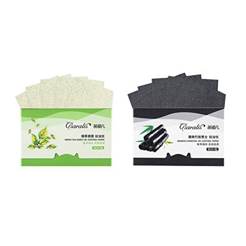 Lurrose 2 Paquets de Papier buvard Absorbant pour Charbon de Bois de Bambou et de Feuilles absorbantes d'huile de thé Vert