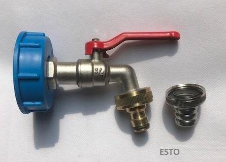 Esto IBC Wassertank-Zubehör, Kugelauslaufventil 3/4 mit Varioadapter Messing Gardenakompatibel, DIN61