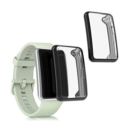 kwmobile Set 2X Compatibile con Huawei Watch Fit Cover Protettiva - Custodia Full Body Smartwatch - in Silicone - Nero