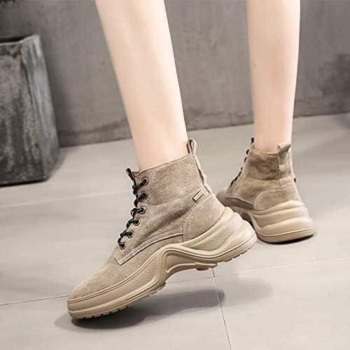 Shukun Bottes Chaussures de Sport Montantes pour Femmes Chaussures de Sport PU Retro Retro pour Femmes Matte Martin bottes Autumn