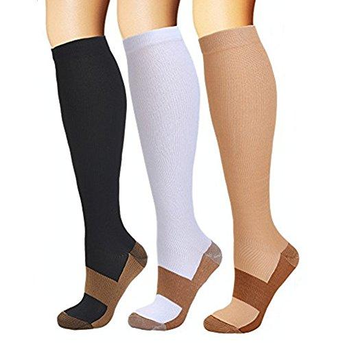 feifanshop Kompressionsstrümpfe Herren Damen Compression Socks Kompressionssocken Strümpfe Kompression Laufsocken für Laufen Radfahren Erholung Blutzirkulation 3er Pack