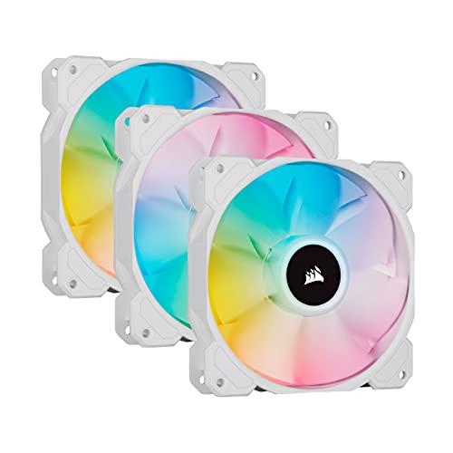 Corsair iCUE SP120 RGB ELITE 120mm PWM Set de tres ventiladores con iCUE Lighting Node CORE, Tecnología CORSAIR AirGuide, Ocho LED RGB direccionables, baja sonoridad de 18 dBA, hasta 1.500 RPM, Blanco