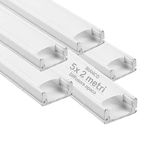 5x Profili da 2 metri (10mt) in Alluminio Bianco per Strisce LED Schermatura Opaca ingombro max striscia led 12.4mm - 17.4 x 7