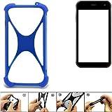 K-S-Trade® Handyhülle Für Cyrus CS 22 Silikon Schutz Hülle Cover Case Bumper Silikoncase TPU Softcase Schutzhülle Smartphone Stoßschutz, Blau (1x),