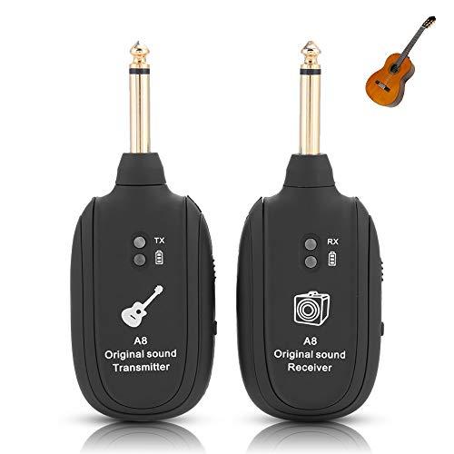 Bewinner Juego de transmisión de Audio inalámbrico con transmisor Receptor para Guitarra eléctrica, bajo, violín, 4 Canales, Recargable, inalámbrico, Receptor de transmisor de Guitarra eléctrica
