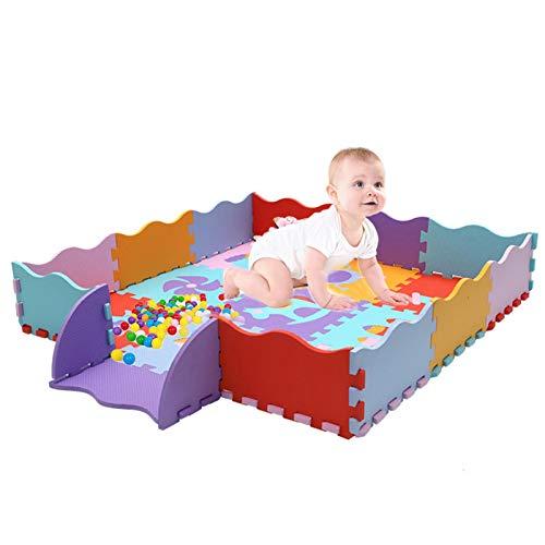 Kinder Puzzlematte 23 Teile incl Rand Schaumstoff Bodenpuzzle, Spielmatte Spielteppich Schaumstoffmatte Kinderteppich, 122 x 122 x1cm, Puzzlematte Kinderspielteppich, für Baby & Kinder