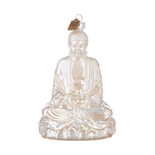 Raz 4.75-Inch Glass White Buddha Ornament