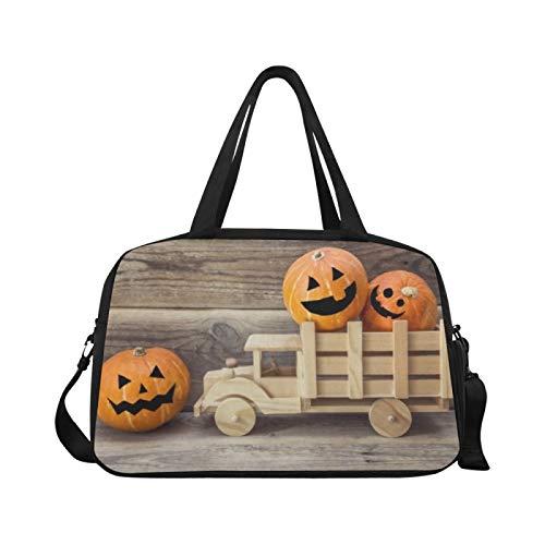 Sport-Sporttasche Holzspielzeug-LKW Halloween-Kürbisse Zurück Reisetaschen Reisetasche Faltbare Gepäcktasche Workout Fitness-Handtasche Übernacht-Umhängetasche für den Außenbereich