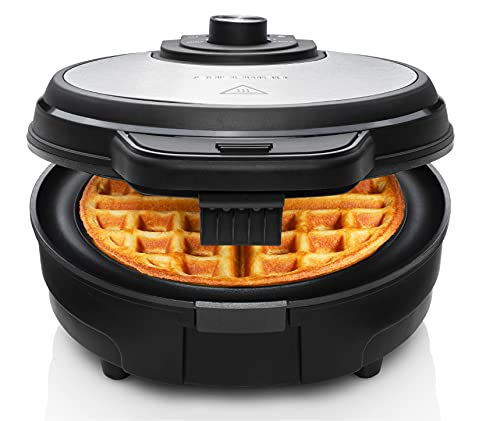 Chefman Anti-Overflow Belgian Waffle Maker w/Shade Selector, Stainless Steel, Temperature Control, Mess Free Moat, Round Nonstick Iron Plate, Cool Touch Handle, Measuring Cup Included