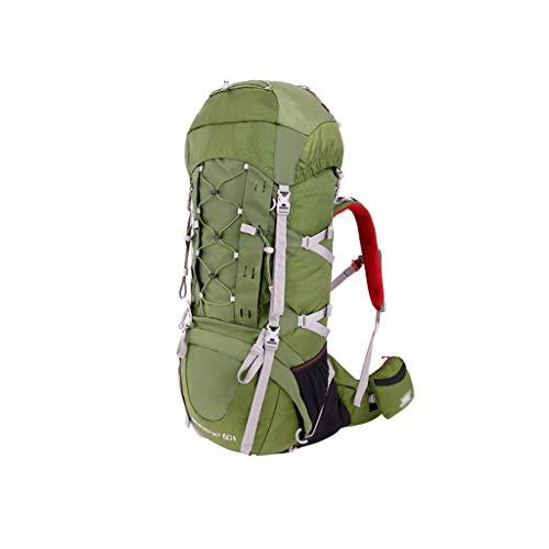 WEIFAN-Outdoor Hiking Backpack Alpinisme Sac À Bandoulière Voyage Randonnée Camping Grande Capacité Sac À Dos 60 + 10L Tcs Réglable Portant Résistant À l'usure Tissu Armygreen Cadeau De Vacances
