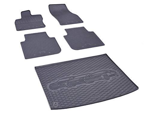Passgenaue Kofferraumwanne und Gummifußmatten geeignet für VW Tiguan Allspace ab 2017 + Autoschoner MONTEUR