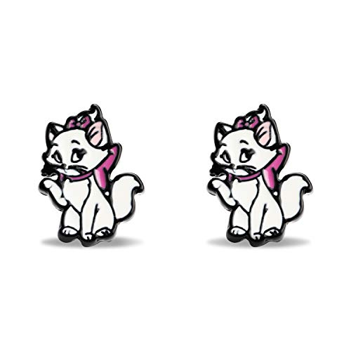 Marie Cat Character Head - Pendientes de metal esmaltados, diseño de gato Marie para mujeres y...
