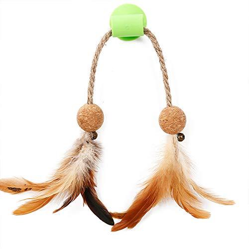 ETbotu Heimtierbedarf Lustige Vogelform Feder Catmint Bell Interaktives Spielzeug mit Sauger für Katzen Training Grüne Feder Einheitsgröße