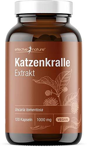 Hochdosierter Extrakt aus Katzenkrallenpulver - 1000 mg Katzenkralle pro Tag - Uncaria tomentos aus Südafrika - 120 vegane Kapseln