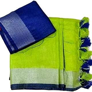 Printsquad®Parrot Green Linen Slub Saree For Women With Blue Blouse Piece Prns97