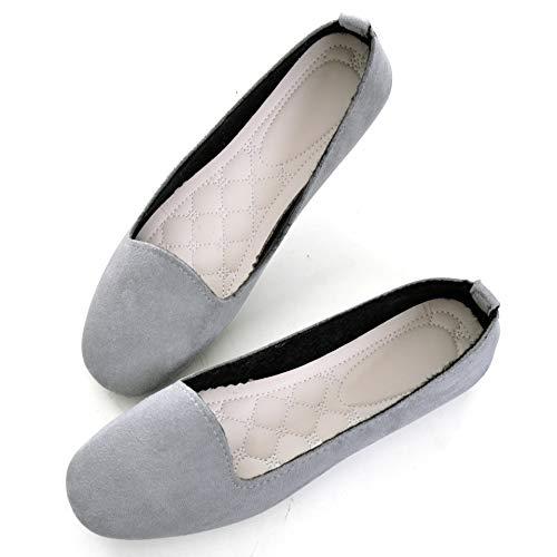 TN TANGNEST Slduv7 WomensComfortable Round Toe Ballet Flats Non Slip Flat Shoess Gray 42(9)