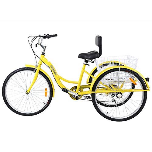 """MuGuang Triciclo Adulto 26"""" 7 velocidades Bicicleta 3 Ruedas Adulto con Cesta de la Compra(Amarillo)"""