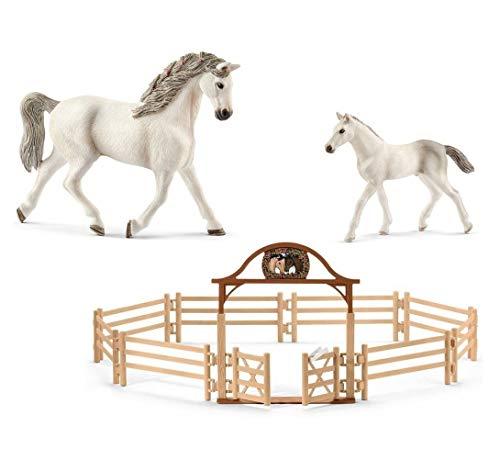 3in1-SET Schleich Paarden Horse Club | Holsteiner Stute met veulen + paardenkoppelstuk | 13858 13860 + 42434