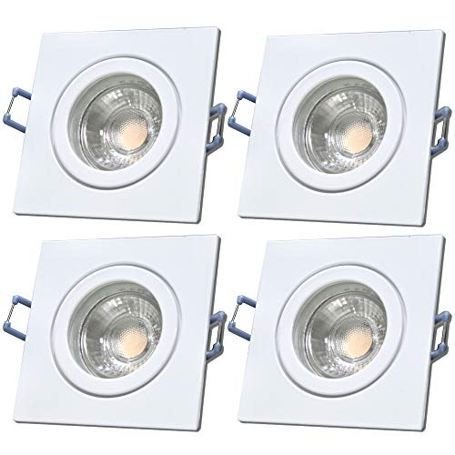 LED Bad Einbauleuchten 12V inkl. 4 x 5W LED LM Farbe Weiß IP44 LED Einbaustrahler Neptun Eckig 3000K Deckenspots