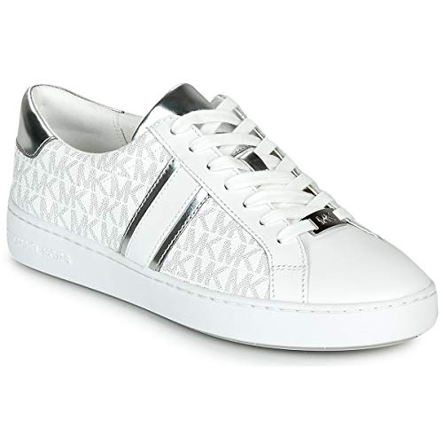 Michael Michael Kors Irving Stripe Lace Up Sneaker Damen Weiss/Silbern - 40 - Sneaker Low Shoes