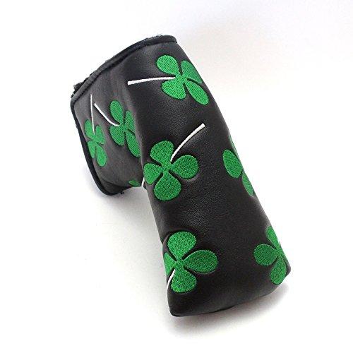 【 パターカバー ピン型タイプ クローバー刺繍ブラック 】 PUレザー ピン型・スリムなマレット型パター収納用 ヘッドカバー